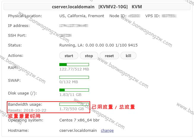 [答疑] 搬瓦工 / BandwagonHost 已用流量和剩余流量如何查询?